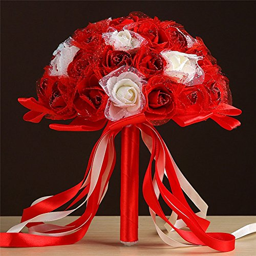 Artificial Flower Foam Roses Bridal Wedding Party Bride Bouquet Rose Red - 3