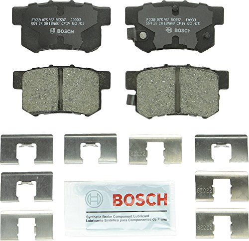 Bosch BC537 QuietCast Premium Ceramic Disc Brake Pad Set For: Acura CL, CSX, ILX, RSX, TL, TSX, Vigor; Honda Accord, Civic, CR-Z, Prelude, S2000; Suzuki Kizashi, SX4, Rear ()