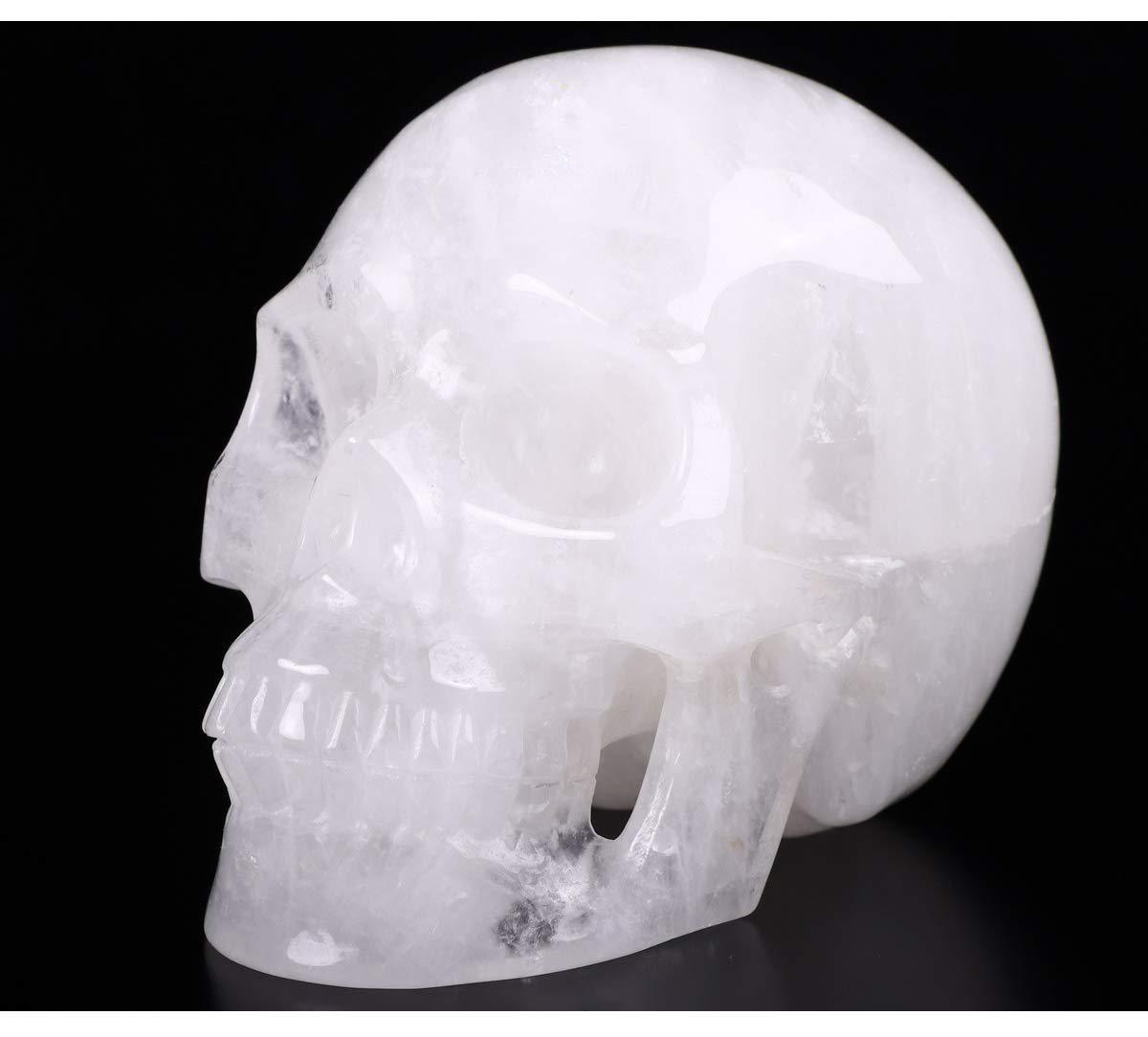 Skullis 5.0 Quartz Rock Crystal Skull, Hand Carved Gemstone Fine Art Sculpture, Reiki Healing Stone Statue.