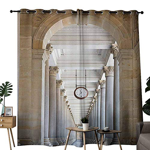 Mannwarehouse Apartment Decor Collection Fresh Curtains Classical Colonnade in Karlovy Vary Czech Republic Ancient Civilization Monument Print for Living, Dining, Bedroom (Pair) W72 x L108 ()