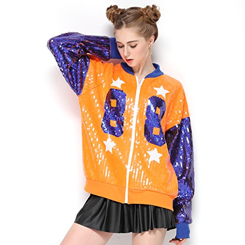 Sparkle Sequin Letter Jacket Coat - Glitter Long Sleeve Jacket for Women by IMAGICSUN (Image #2)