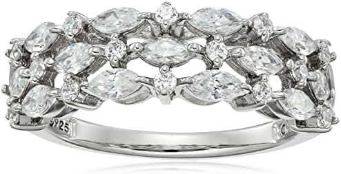 Platinum Plated Sterling Silver Swarovski Zirconia 3-Row Marquise Ring