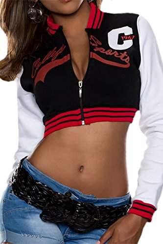 Longues Sweat Manches shirt Femme Noir Taff amp; rouge Raff w6qx7CXgx