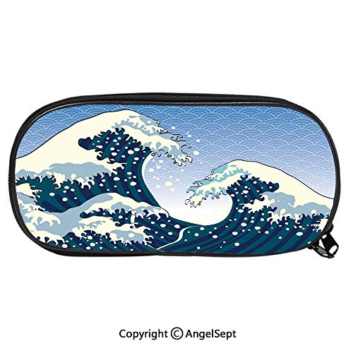 Pattern Pencil Bag Far Eastern Painting Oceanic Storm Theme Tsunami Wind Water Artwork for Kids Boys Girls School Students Pencil Case with Zipper Children Pen Bag Pouch HolderTeal Blue -