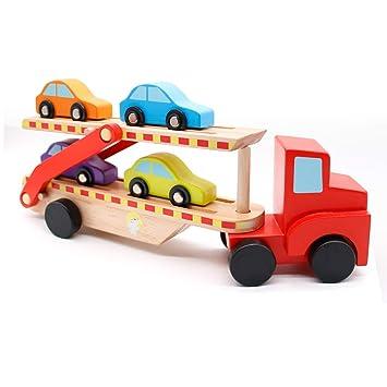 yoptote Camiones con Coches Dentro Tren Juguete Madera Bloques Construcción Bebe Doble Coche Plegable Regalos para Cumpleaños Infantiles Niños 3 4 5 ...