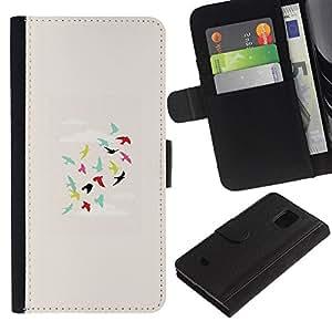 KingStore / Leather Etui en cuir / Samsung Galaxy S5 Mini, SM-G800 / Los pájaros del trullo Verde Rosa Profunda