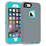 iPhone 6/6s Case,[Heavy Duty] Armor 3 in 1 Built-in Screen Protector Rugged Cover Dust-Proof Shockproof Drop-Proof Scratch-Resistant Tough Shell Case for Apple iPhone 6/6s 4.7 inch (Gray)