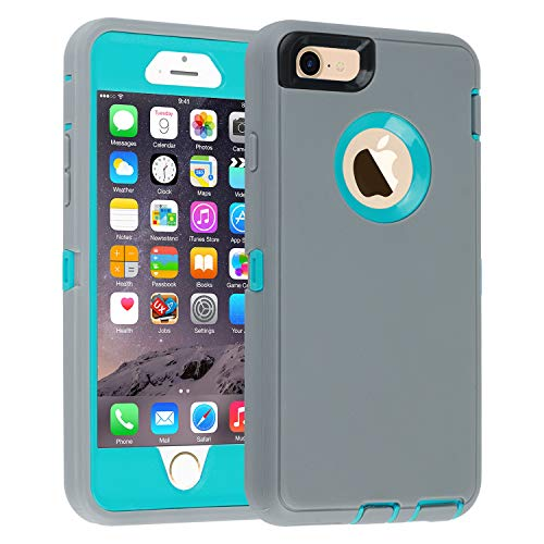 iPhone 6/6s Case,[Heavy Duty] Armor 3 in 1 Built-in Screen Protector Rugged Cover Dust-Proof Shockproof Drop-Proof Scratch-Resistant Tough Shell Case for Apple iPhone 6/6s 4.7 inch (Gray) ()