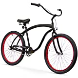 Firmstrong Bruiser Man Three Speed Beach Cruiser Bicycle, 26-Inch, Matte Black w/ Red Rims