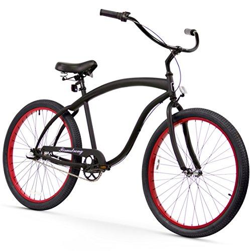 (Firmstrong Bruiser Man 3-Speed Beach Cruiser Bicycle, 26-Inch, Matte Black/Red)