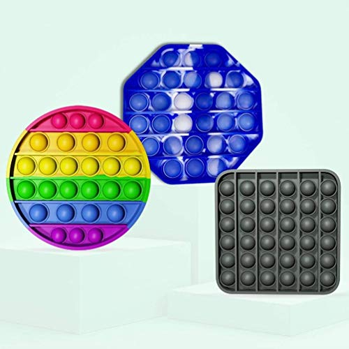 3Pcs Push Pop Pack Bubble Fidget Sensory Toy, Autism Special Stress Needs Reliever Silicone Squeeze Figetget Toys for Kids, Adults, Family & Friends in Home, School & Office - Circle, Square & Octagon