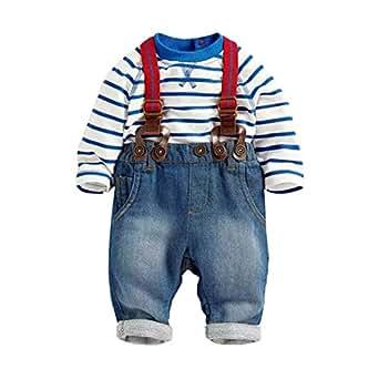 Amazon.com: Baby Boys Jeans Bib Pants Striped T-shirt Top