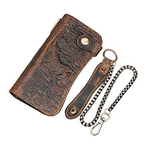 LUUFAN Men's Genuine Leather Long Wallet Chain Wallet, Engraved Bifold Wallet Biker Bi Fold Chain Wallet