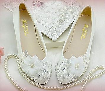 791f17150e JINGXINSTORE White Lace Floral Bridal Wedding Shoes High Heels Flat Platform  Perform, UK2, Flat