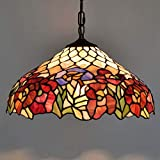 DSHBB Tiffany Style Chandelier,40CM Simplicity Stained Glass Pendant Lamp Flower,bar,Bedroom - Living Room Decoration Pendant Lamps E27 - 40W