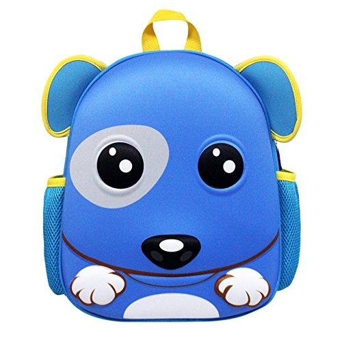 Zahara Toddler Kids Backpack 3D Waterproof Hard Shell Cute Zoo Animal Cartoon Preschool Bag Puppy Dog Blue