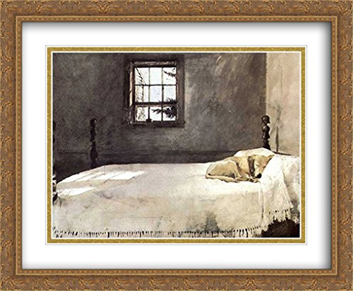 Master Bedroom, c.1965 2X Matted 34x28 Large Gold Ornate Framed Art Print by Andrew Wyeth