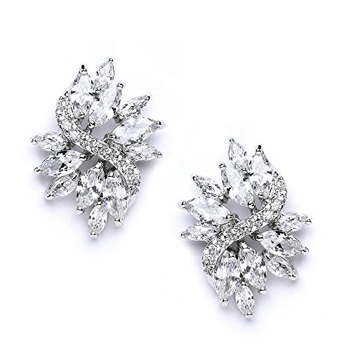 Mariell Cubic Zirconia Bridal Wedding Earrings with Marquis-Cut CZ Clusters Plated in Genuine Platinum ()