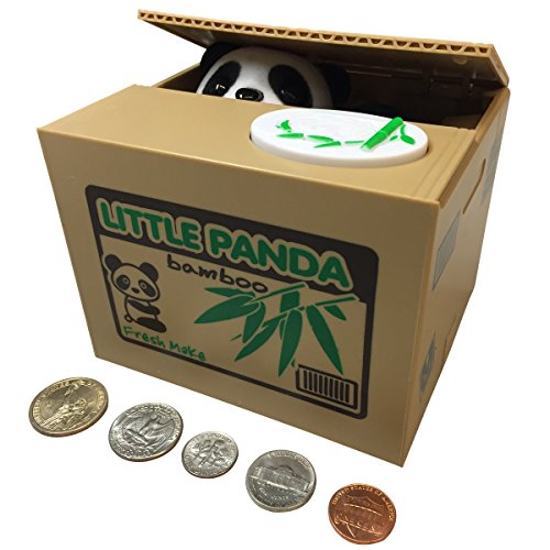 SPARK TOYS & GAMES ™ - Piggy Bank - Cute Panda Bear - Steals Coins like Magic!! - Hours of Fun & a Great Gift for (Girlfriend Dogs)