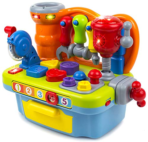 Toy Workshop Playset for Kids with Sounds & Lights Engineering Pretend Play, Great Educational for Shapes, Numbers, and The Alphabet | Great Gift for Toddler Boys & Girls