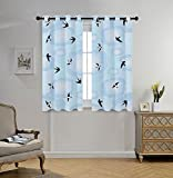 Stylish Window Curtains,Flying Birds Decor,Swallows Swifting in the Cloudy Sky Best Friends United for Hope Illustration Home,Black Blue,2 Panel Set Window Drapes,for Living Room Bedroom Kitchen Cafe For Sale