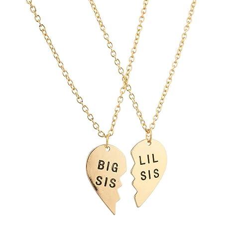 0f2ef414e4 Amazon.com: Lux Accessories Big Sis Lil Sis Little Sister BFF Best Friends  Forever Detachable Heart Broken Heart Necklace Set (2 Pc): Lux Accessories:  ...