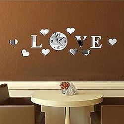 Clocks - Honana Dx-X2 Creative Love Acrylic Mirror Wall Sticker Quartz Clocks Watch Home Decor - Passion Fence Label Enjoy Palisade Gummed Beloved Rampart Dear Surround Dearest Bulwark - 1PCs