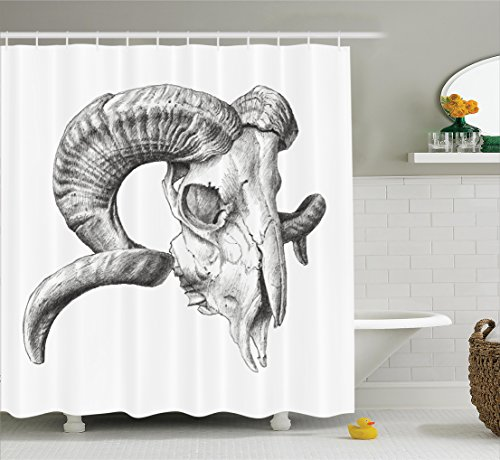 Wild Animals Polyester Shower Curtain - Ambesonne Skulls Decorations Collection, Scary Mountain Goat Animal Skull Illustration in Dark Colors Dead Horns Wild Nature, Polyester Fabric Bathroom Shower Curtain, 75 Inches Long, Grey White