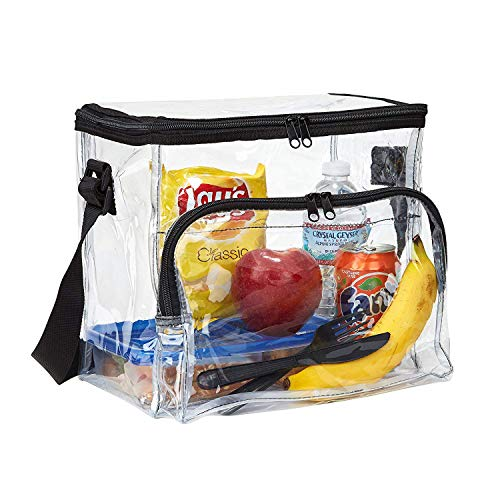 Large Clear Lunch Bag Heavy Duty Clear Lunch Box with Adjustable Straps and Front Storage Compartment