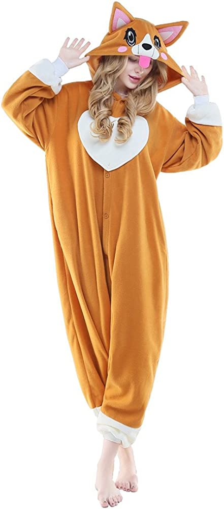 NEWCOSPLAY Adult Unisex Onesie Pajamas Corgi Animal Costume