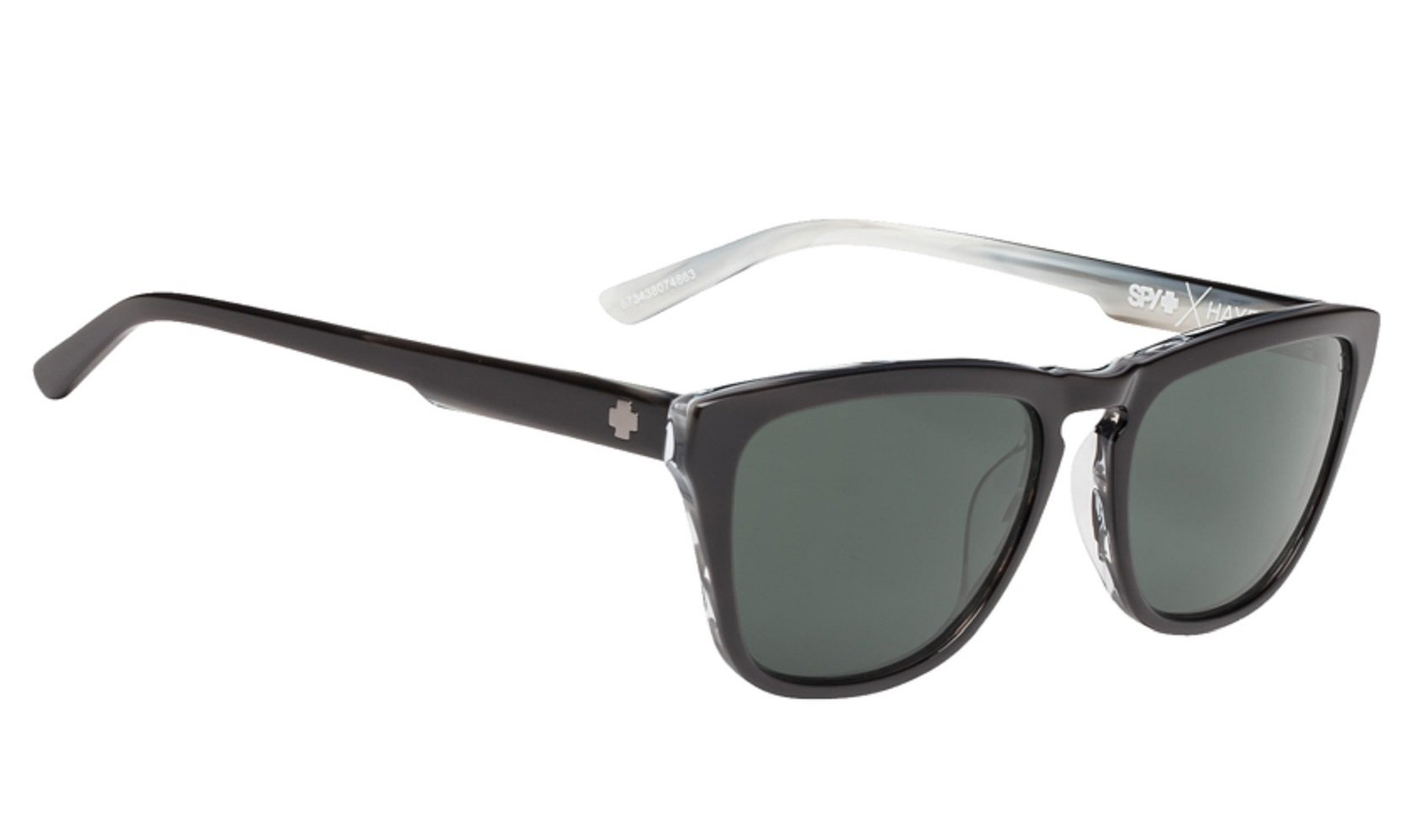 SPY Optic Hayes Polarized Sunglasses for Men and for Women | Patented Happy Lens Technology for Optimal Clarity | Virtually Indestructible Grilamid Frame | Classic Style | Black, Happy Gray Green