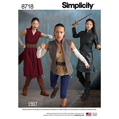 Simplicity 8718 Women's Fantasy Warrior Costume Sewing, Pattern Sizes 6-14 -