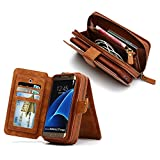 Gasin Samsung Galaxy S7 Edge PU Leather Case, Credit Card Holder Cover / Seperable Magnetic Shell Cover with Zipper Coin Pocket (Wallet Case-Brown)