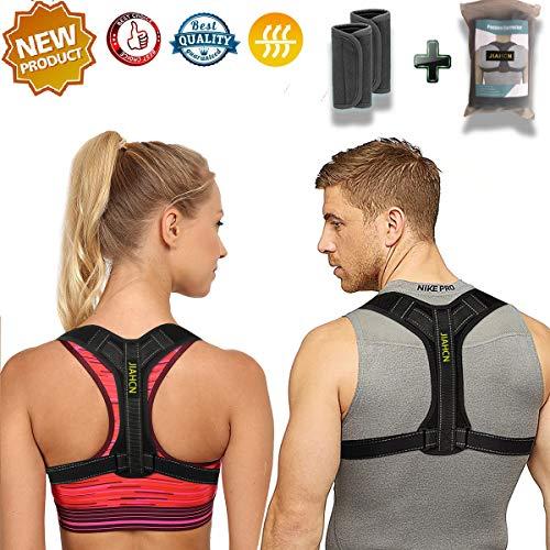 JIAHCN Posture Corrector Women&Men, Effective Comfortable Posture Brace Slouching Hunching, Upper Back Bracer Detachable Pads to Relieve Back Pain (28-42)(Black)