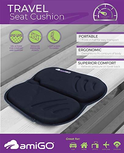 amiGO Travel Seat Cushion, Gel & Foam Portable Cushion, Folds in Half, Versatile Handle, Relieves Back Pain, Coccyx-Cutout by amiGO (Image #4)