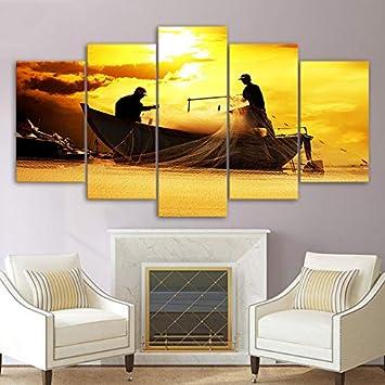 KANGZEDT Pintura sobre lienzo - 5 piezas 200*100CM Paisaje de pescadores Cuadro sobre Lienzo - Modernos Mural - Impresión en Lienzo - Listo para Colgar - decoración del hogar Arte Cuadro en Lienzo -