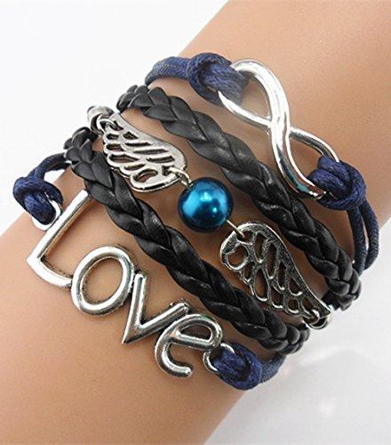 (Ac Union Love Angel Wings Pearl Charm Friendship Gift Handmade Leather Bracelet -)