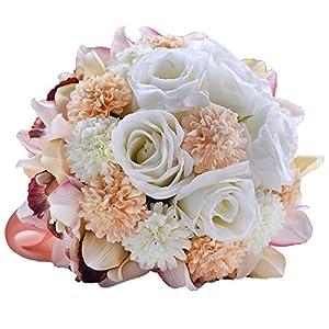 "Abbie Home Bride Bouquets - 9"" Artificial Wedding Flower Roses Toss Holding Bouquet - Rhinestone Ribbon Décor (391CP) 2"