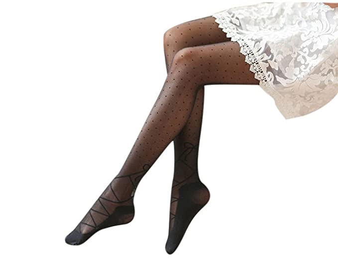 5db033cb1 Ealafee Womens Sheer Long Stockings with Bows Plus Size Black Summer  Pantyhoses