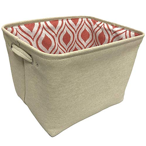 Beige Canvas Decorative Rectangle Storage Bin Organizer Basket with Handles and Decorative Print Liner for Home Office Bedroom Bathroom Organization (Beige)
