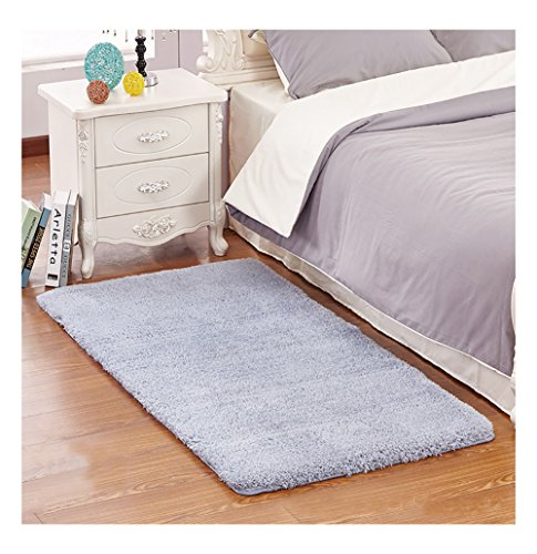 Ultra Soft Bedroom Stepping Carpet,Decorative Living Room Shaggy Area Rug,Fluffy floor Mat with Anti-Slip Bottom (Gray-blue,23'' x 35'') by KAMA BRIDAL