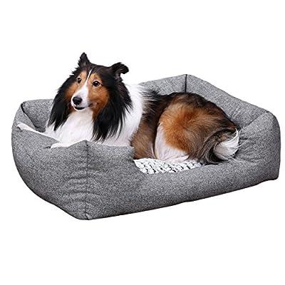 SONGMICS Soft Comfortable Pet Dog Bed Plush Cuddler - Medium Size 31 x 23 inch-Washable Removable Gray UPGW26G