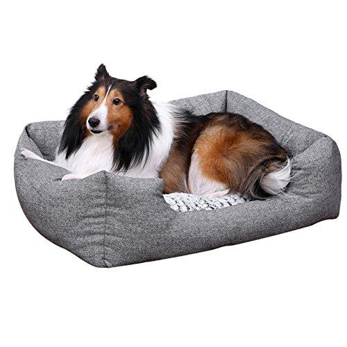 SONGMICS Soft Comfortable Pet Dog Bed Plush Cuddler - Medium Size 31 x 23 inch-Washable Removable Gray (Nuzzle Nest Dog Pet Bed)