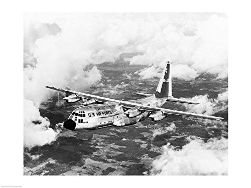 High Angle View of a Military Airplane in Flight, C-130 for sale  Delivered anywhere in USA