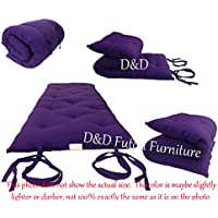 Brand New Purple Full Size Traditional Japanese Floor Futon Mattresses, Foldable Cushion Mats, Yoga, Meditaion 54 Wide X 80 Long