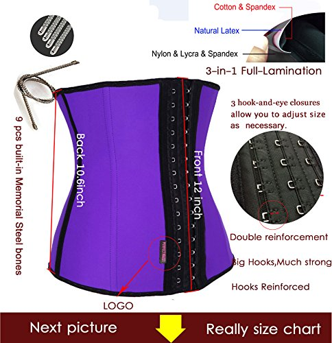 23c2915696 DILANNI Women s Latex Sport Girdle Waist Training Corset Adjustable Waist  Shaper Purple L