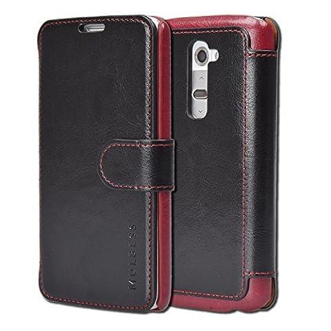 LG G2 Case Wallet - Mulbess [Layered Dandy][Black] - [Slim][Wallet Case] - Premium Leather Flip Case With Credit Card Slot for LG (Lg G2 Phone Case Magnetic)