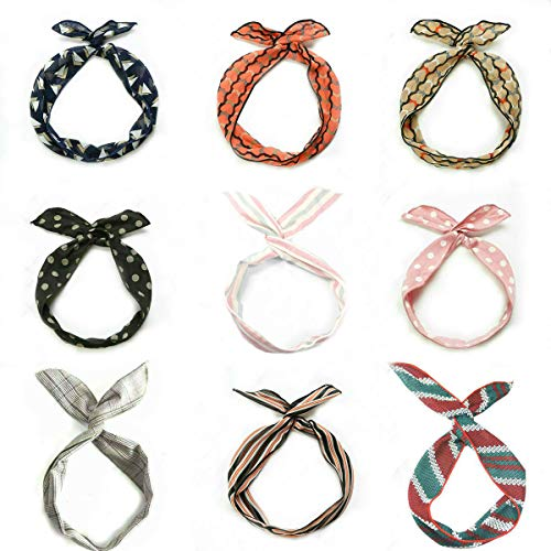 Tovip 9 Pieces Multicolor Twist Bow Wire Headbands Wrap Hair Accessory Hairbands for Women and Girls