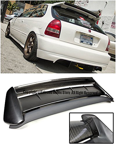 Extreme Online Store Replacement for 1996-2000 Honda Civic EK9 3Dr Hatchback | EOS Seeker V2 Style Carbon Fiber Rear Roof Lip Wing with Primer Black Type-R Base Spoiler - Hatchback Carbon Fiber Spoiler