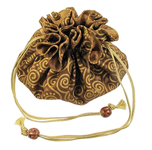 - Drawstring Jewelry Pouch, Cotton and Poly Silk, Gold